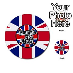 Punk Not Dead Music Rock Uk United Kingdom Flag Multi-purpose Cards (Round)