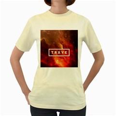 Trxye Galaxy Nebula Women s Yellow T Shirt