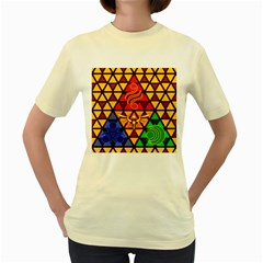 The Triforce Stained Glass Women s Yellow T Shirt