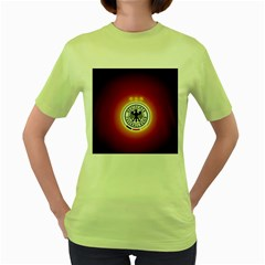 Deutschland Logos Football Not Soccer Germany National Team Nationalmannschaft Women s Green T Shirt