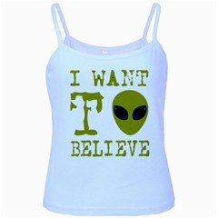 I Want To Believe Baby Blue Spaghetti Tank