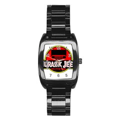 Jurassic Jeep Park Stainless Steel Barrel Watch