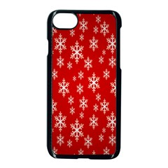Christmas Snow Flake Pattern Apple iPhone 7 Seamless Case (Black)