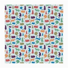 Blue Colorful Cats Silhouettes Pattern Medium Glasses Cloth (2 Side)