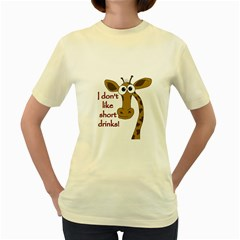 Giraffe Joke Women s Yellow T Shirt