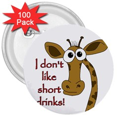 Giraffe Joke 3  Buttons (100 Pack)