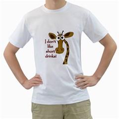Giraffe Joke Men s T Shirt (white) (two Sided)