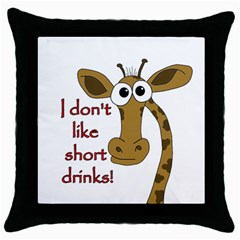 Giraffe Joke Throw Pillow Case (black)
