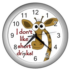 Giraffe Joke Wall Clocks (silver)
