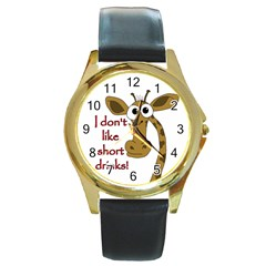 Giraffe Joke Round Gold Metal Watch
