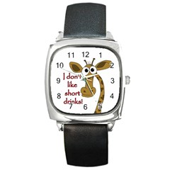 Giraffe Joke Square Metal Watch