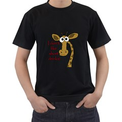 Giraffe Joke Men s T Shirt (black) (two Sided)