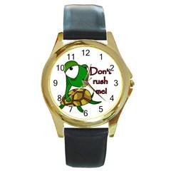 Turtle Joke Round Gold Metal Watch