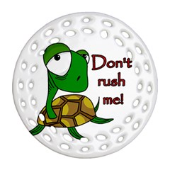 Turtle Joke Round Filigree Ornament (2side)