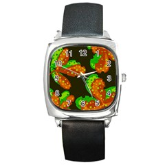 Autumn leafs Square Metal Watch
