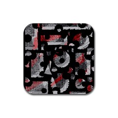 Red shadows Rubber Square Coaster (4 pack)