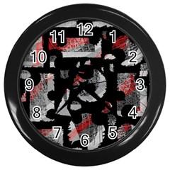 Red shadows Wall Clocks (Black)