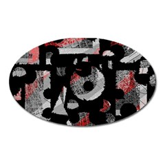 Red shadows Oval Magnet