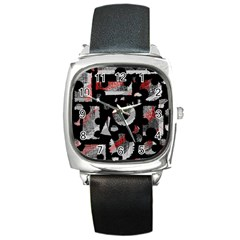 Red shadows Square Metal Watch