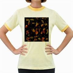 Floral abstraction Women s Fitted Ringer T-Shirts