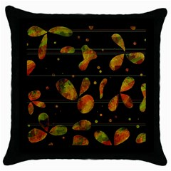 Floral abstraction Throw Pillow Case (Black)