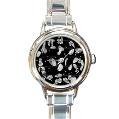 Black and white floral abstraction Round Italian Charm Watch