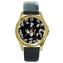 Black and white floral abstraction Round Gold Metal Watch