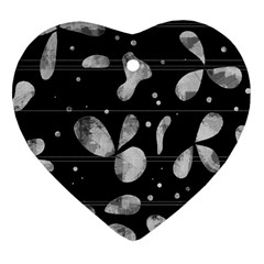 Black and white floral abstraction Heart Ornament (2 Sides)