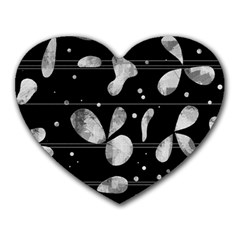 Black and white floral abstraction Heart Mousepads