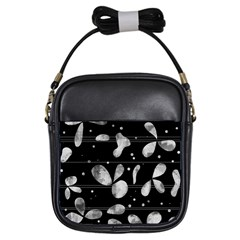Black and white floral abstraction Girls Sling Bags