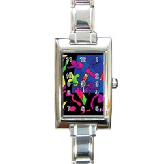 Colorful shapes Rectangle Italian Charm Watch