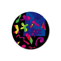 Colorful shapes Rubber Round Coaster (4 pack)