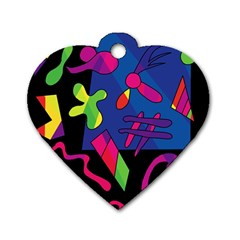 Colorful shapes Dog Tag Heart (Two Sides)