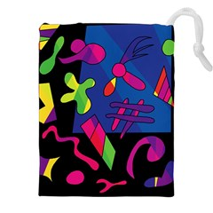 Colorful shapes Drawstring Pouches (XXL)