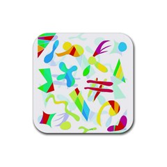 Playful shapes Rubber Square Coaster (4 pack)
