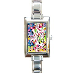 Colorful pother Rectangle Italian Charm Watch