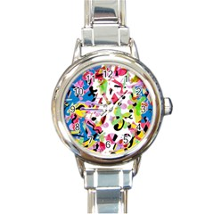 Colorful pother Round Italian Charm Watch