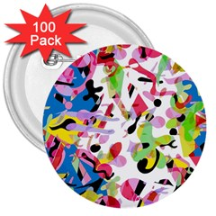 Colorful pother 3  Buttons (100 pack)