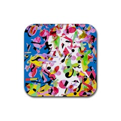 Colorful pother Rubber Square Coaster (4 pack)