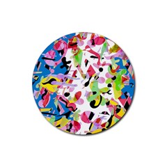 Colorful pother Rubber Round Coaster (4 pack)