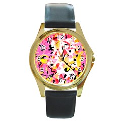 Pink pother Round Gold Metal Watch