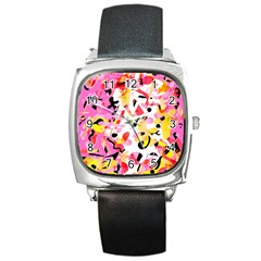Pink pother Square Metal Watch