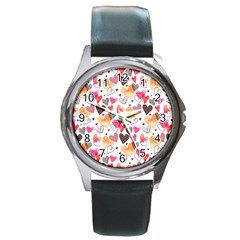 Colorful Cute Hearts Pattern Round Metal Watch