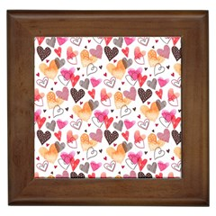 Colorful Cute Hearts Pattern Framed Tiles