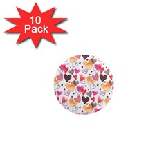 Colorful Cute Hearts Pattern 1  Mini Magnet (10 pack)