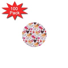 Colorful Cute Hearts Pattern 1  Mini Buttons (100 pack)