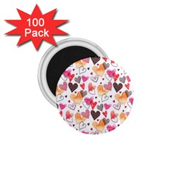 Colorful Cute Hearts Pattern 1.75  Magnets (100 pack)