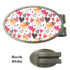 Colorful Cute Hearts Pattern Money Clips (Oval)