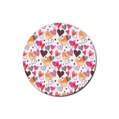 Colorful Cute Hearts Pattern Rubber Round Coaster (4 pack)