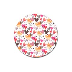 Colorful Cute Hearts Pattern Magnet 3  (Round)